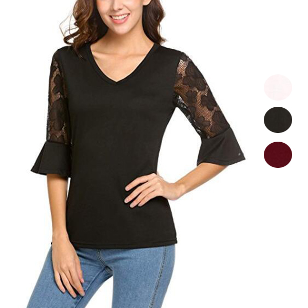 Women Lace 3/4 Sleeves Patchwork V Neck Chiffon Slim Fit Tees Tops Blouse FS99
