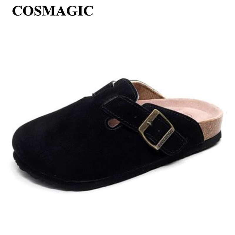 COSMAGIC 2019 Fashion Men Beach Cork Slippers Summer Solid Color Non slip Outside EVA Nubuck Leather Slide Shoe High Quality-in Slippers from Shoes    1