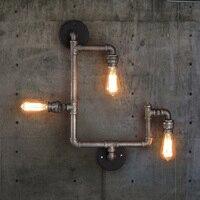 Лофт стиль кованого железа винтажная настенная лампа креативная труба лампа промышленные настенные бра бар Арт Деко освещение Эдисона нас