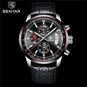 Image 2 - BENYAR Mens Watches 2019 NewLuxury Brand Quartz Leather Watch Men Fashion Chronograph Wristwatch Sport Clock Relogio Masculino