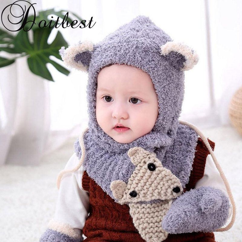 6 Months To 3 Years Old Cartoon Fox Beanies Hats Sets Wool Kids Soft Winter 3 Pcs Baby Boys Girl Scarf Hat Glove Set