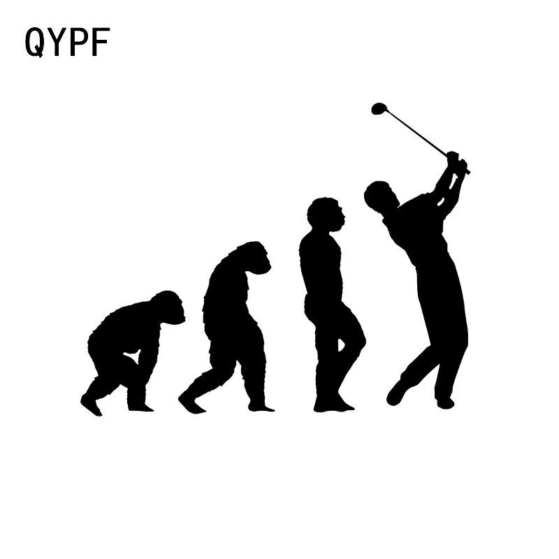 QYPF 14.9*12CM Interesting Evolution Of Golfer Decor Vinyl Car Sticker Reflective Silhouette Accessories C16-1493