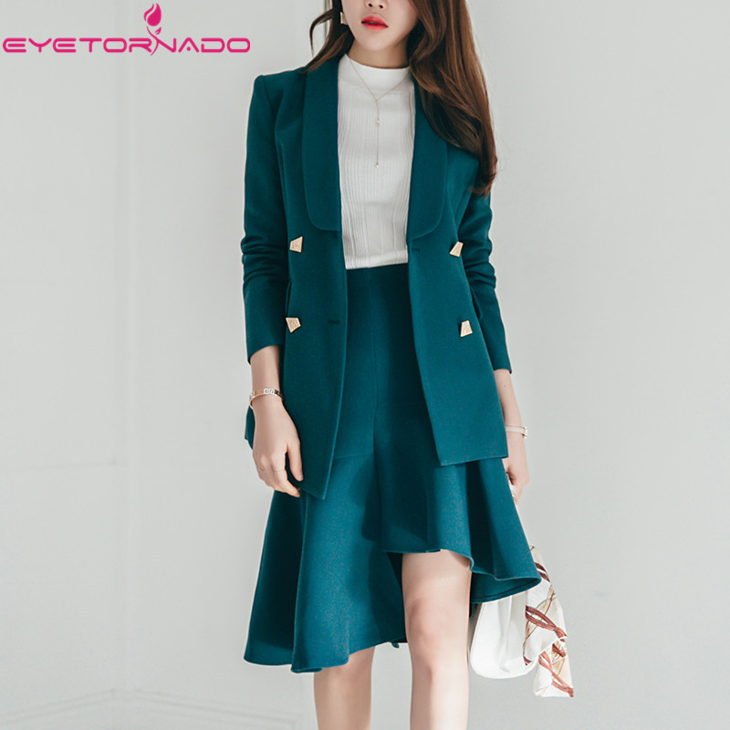 Women Autumn Blazer Double Breasted Notched Business Suit Short Casual OL Work Basic Formal Blazer Suit casaco outwear 9025