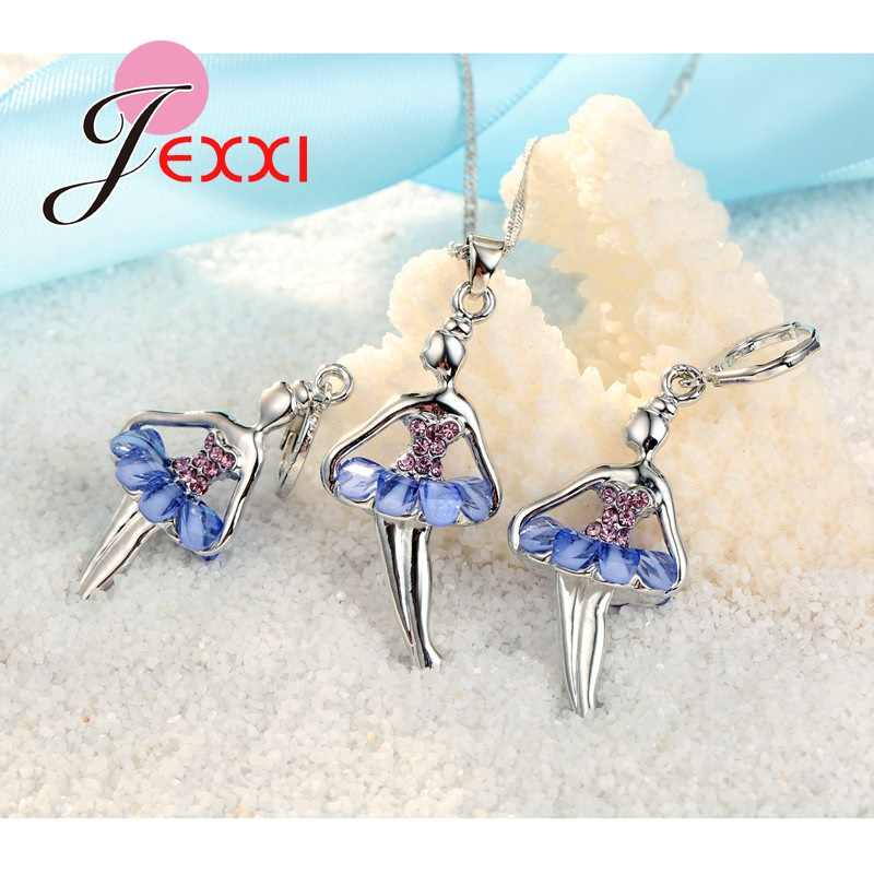 Beautiful Ballet Dancing Girl With Colorful Cubic Zircon Dress 925 Sterling Silver Color Fashion Jewelry Set Necklace Earrings