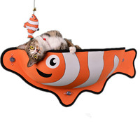 Pet Bed Adsorption Hanging Cat Nests Bed Fish Shaped Sucker Window Sill Wall Cat Bed Snack