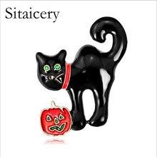 Sitaicery Black Cat Brooches Unisex Elegant Animal Brooch Pin Fashion Jewelry Enamel Coat Broches Bijouterie Animal Animal Badge цена