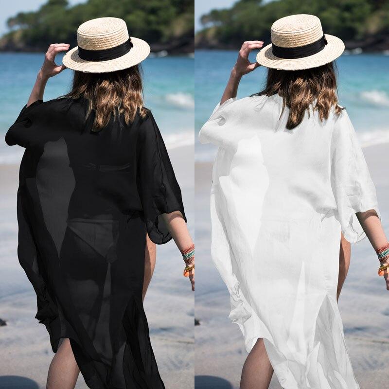 New Beach Chiffon Cover Ups Cardigan wearing Sunscreen garment beach blouse bikini Bathing suit jacket