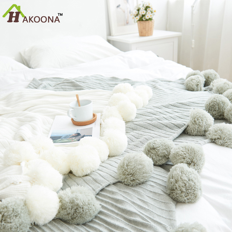 HAKOONA Brand quality cotton Pom Crochet Thread Summer Blankets 100*105cm Babies Adults Twin Size Bed Kitted Throws Bed Runners
