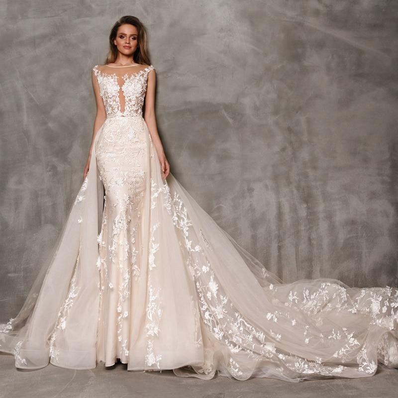 2019 Modern Mermaid Wedding Dress With Detachable Train