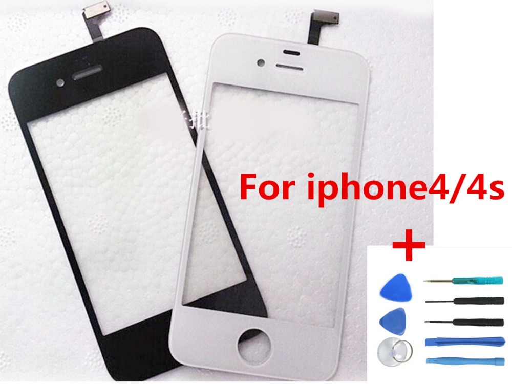 White/black Front Glass Lens + Touch Screen Digitizer For Apple iPhone 4 / 4S Replacemen ...