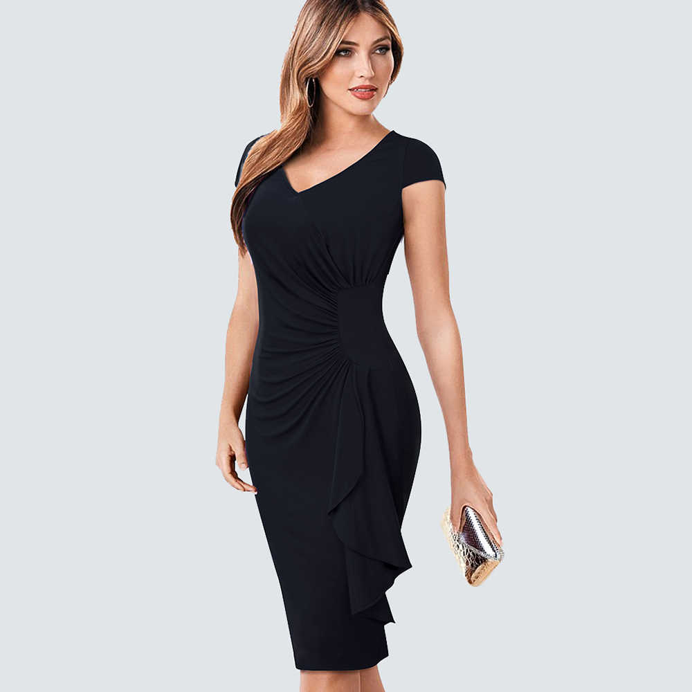 4fe4d4b98bd6a Summer Elegant V Neck Ruched Draped Women Casual Work Office Business  Sheath Fitted Bodycon Pencil Dress HB388