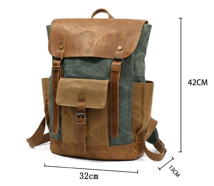 Retro Contrast Oil Wax Waterproof Canvas Bag Travel Backpack Computer Schoolbag Large Capacity Women Backpack 15