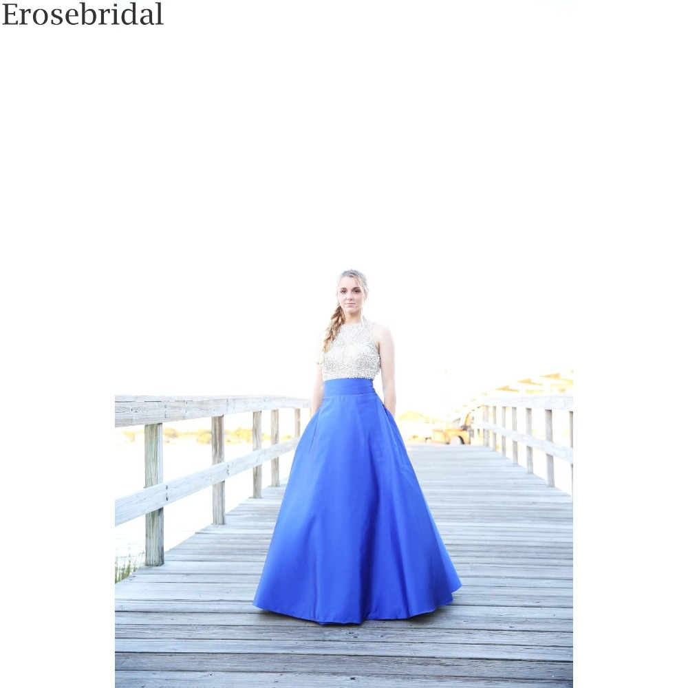 Erosrbridal Beaded Stain Prom Dress A Line Real Image Formal Women Party Gowns Elegant O Neck with Open Back Drop Shipping in Prom Dresses from Weddings Events