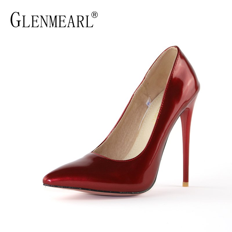 Stiletto Women Pumps High Heels Shoes Brand Patent leather Spring Single Heels Shoes Pointed Toe Woman Wedding Pumps Plus SizeDE ladies red shoes 2018 spring patent cross straps gladiator pointed toe sandals women high heels party wedding pumps shoes 43