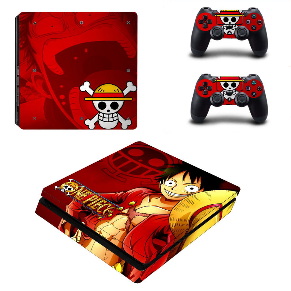 Anime One Piece Luffy Decal PS4 Slim Skin Sticker For Sony PlayStation 4 Console and 2 Controllers PS4 Slim Skin Sticker Vinyl