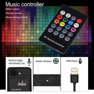 Image 2 - Usbli şerit LED 5050 RGB müzik denetleyicisi ses sensörü RF uzaktan kumanda ile IP20/IP65 müzik LED şerit ışık