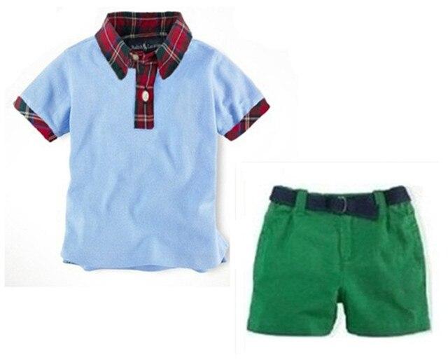 065a3ff6 Hot Sale Boys POLO Short Sleeve Red Plaid T-Shirt sets Children Suit two-piece  Green polo Pants Size 2-7T boy clothes 6set/lot