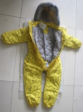 2016 mode d'hiver enfants de barboteuses bébé de bande dessinée banane motif épaissir outwear un morceaux corps costumes pour garçon fille jaune