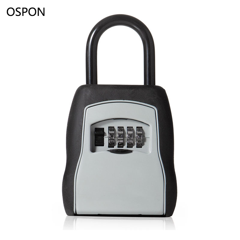 OSPON Outdoor Key Safe Box Keys Storage Box Padlock Use Four Password Lock Alloy Material Keys Hook Security Organizer Boxes survival kit tin higen lid small empty silver flip metal storage box case organizer for money coin candy keys