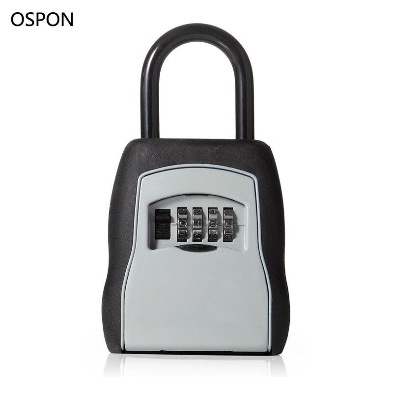 bilder für OSPON Outdoor Schlüssel Safe Schlüssel Aufbewahrungsbox Vorhängeschloss Verwenden Vier Passwortsperre Legierung Material Schlüssel Haken Sicherheit Veranstalter Boxen