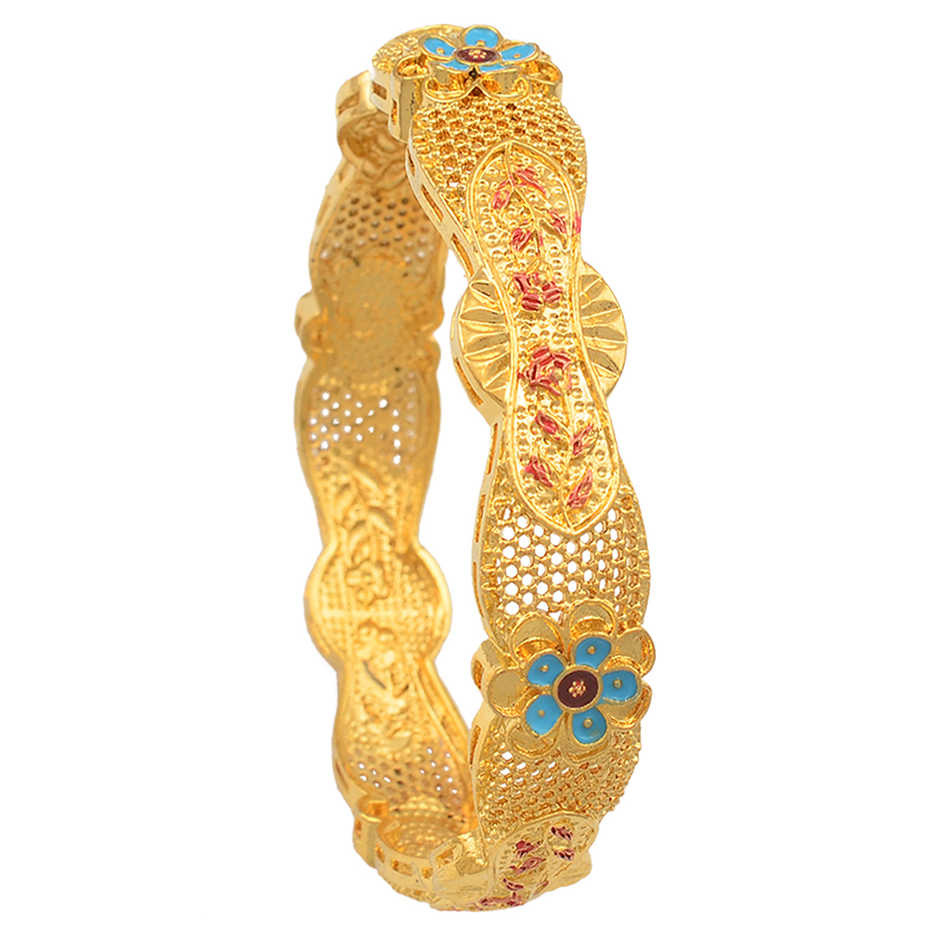 Dubai Bangles for Women,Gold Color Flower Bracelets for mother Arabia Africa Middle East Wedding Bracelet Jewelry Gifts