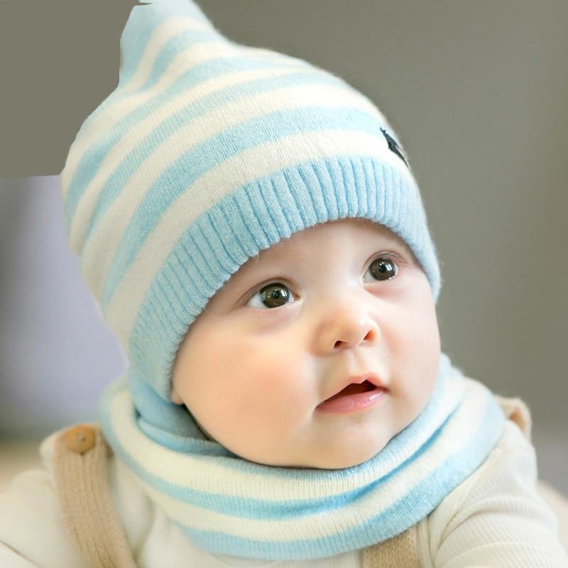 2Pcs/Set Newborn Baby Knitted Hat Scarf Cartoon Cat Caps Scarves Infant Boys Girls Autumn Winter Warm Crochet Beanie Set
