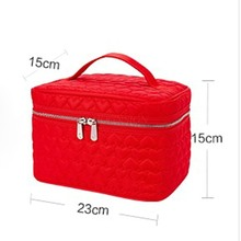 Simple Heart Shaped Portable Cosmetics Case Capacity Waterproof Fabric Storage Large Cosmetic Bag Makeup Pack Make Up Package makeup pack cosmetics case professional storage large box partition portable 3 layer beauty tattoo kit cosmetic bag make up