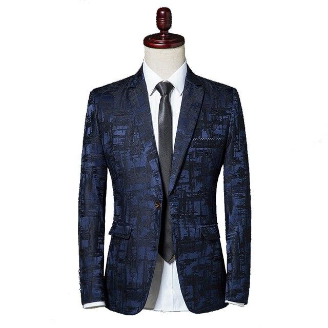 351a038f690 Macho Suite 2018 otoño marca clásica Blazer hombre solo botón Casual  estampado Slim Fit traje de