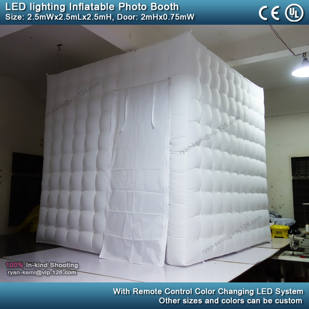 2.5m 8.2ft inflatable photo booth LED lighting portable inflatable photo tent enclosure cube tent with blower daytime