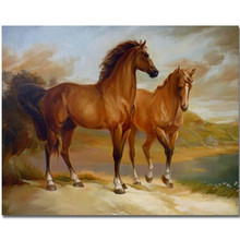 WEEN DIY Oil Painting By Numbers for Kids and Adults, Digital Canvas Painting, Modern Wall Art picture 40X50cm-Horse couple