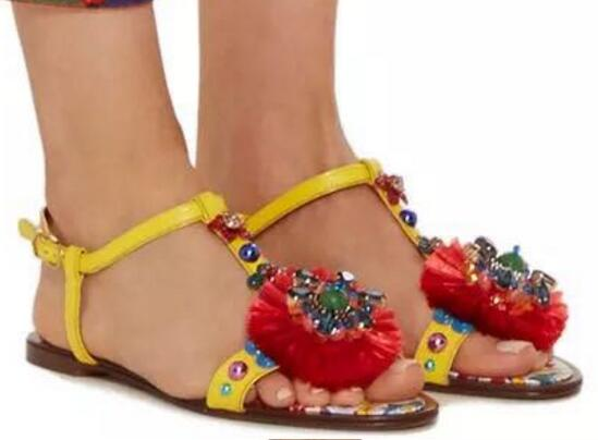 2017 newest flat sandal for woman luxury colorful stones bead t-strap sexy sandal open toe tassel flower gladiator sandal  2017 newest summer black brown leather sandal for woman sexy open toe flat crystal sandal sequins bead t strap buckle shoes