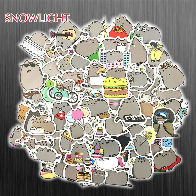 50Pcs/Set Cartoon Fat Cat Cute Expression Sticker For Snowboard Laptop Luggage Fridge DIY Styling Vinyl Home Decor Pegatina