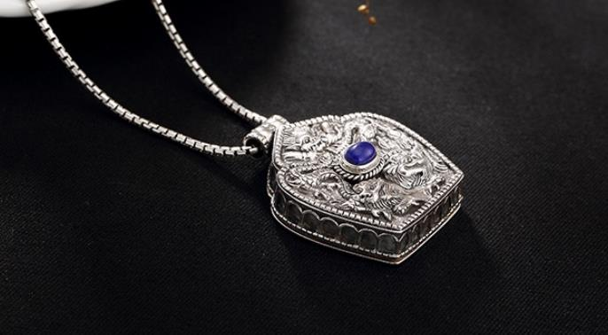 Pendentif en argent Sterling S925 925, breloque ouvrable, collier double dragon vintage