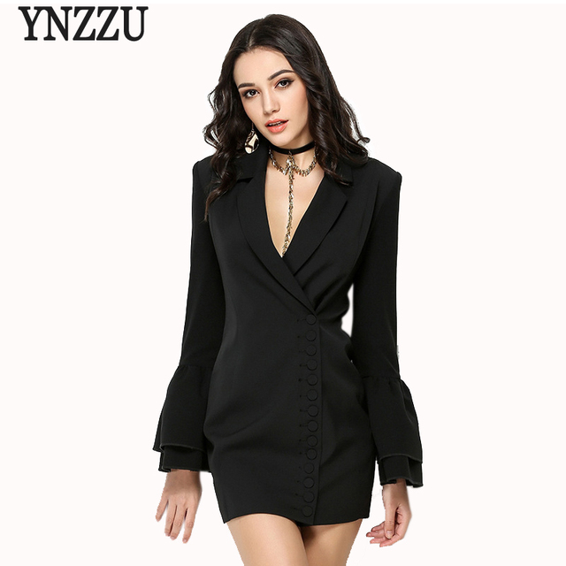 Ynzzu 2018 New Spring Women Blazer Dresses Elegant Office Lady Sexy