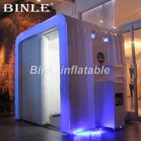 2.4m outdoor decorated wedding inflatable photo booth backdrop with LED tube lights photo booth enclosure manufacturer