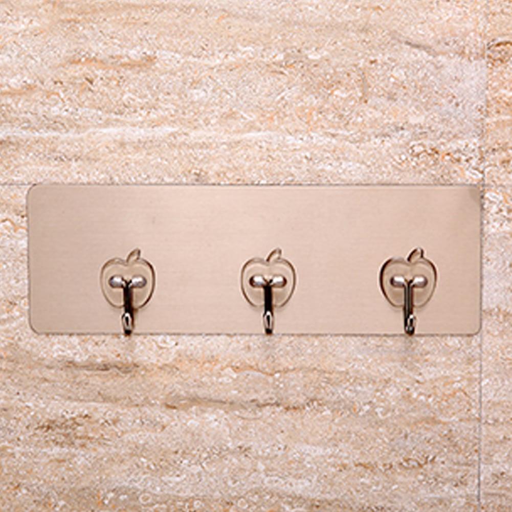 Beducht Zelfklevende Badkamer Keuken Hanger Sterke Opknoping Haken Stok Op Muur Deur Kleren Handdoekhouder Rack Met 3/6 Haken