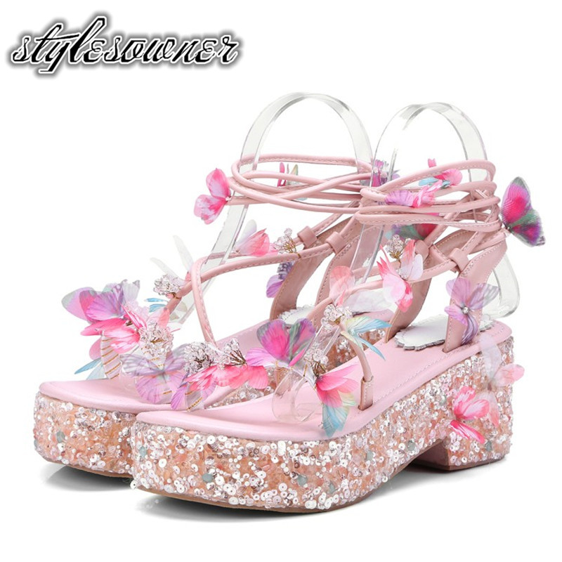 Stylesowner 2018 Korean Style Sweet with Butterfly Crystal Sandals High Platform Pink Microfiber Crosstied Woman Floral Sandals floral decoration vocation sandals in pink