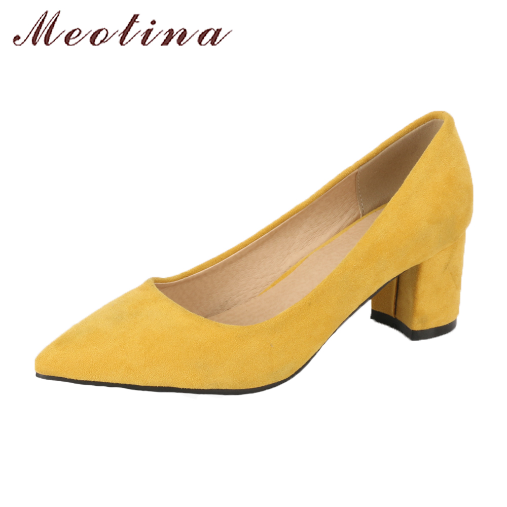 Meotina Thick High Heels Shoes Women Pumps Pointed Toe Work Shoes Slip On High Heels Spring Footwear Big Size 9 42 43 Red Yellow meotina shoes women wedge heels ladies shoes pointed toe lady pumps autumn female work shoes wedges green apricot big size 42 43