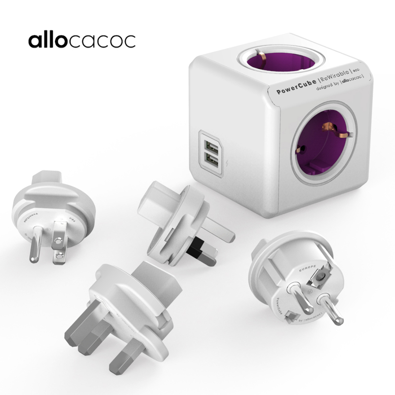 Allocacoc Smart Home electric plug PowerCube Socket EU UK US CN AU Plug power strip USB travel Extension Adapter Multi Switched