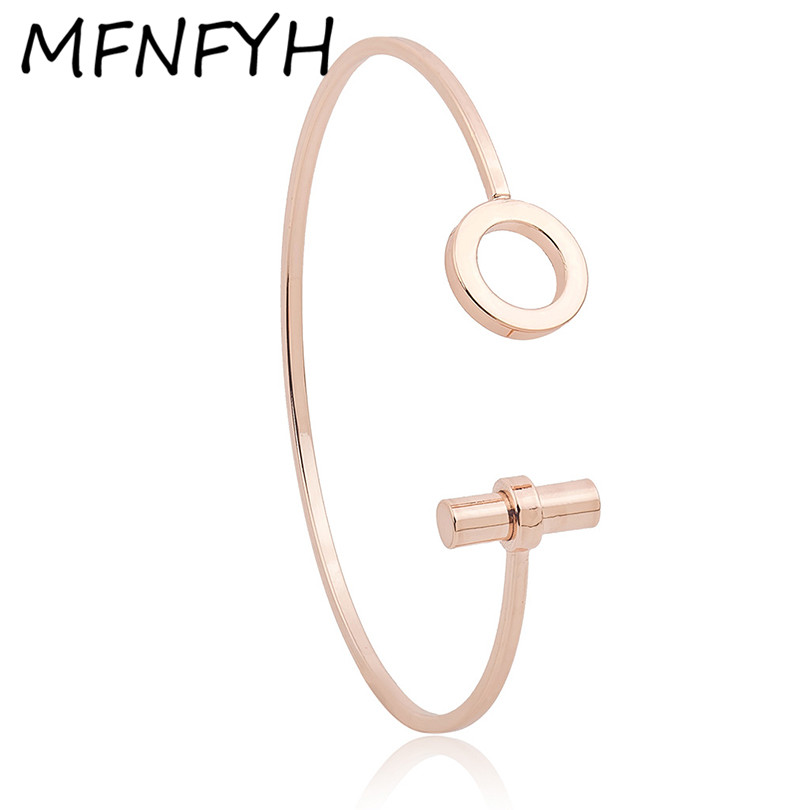 MFNFYH New Fashion Hair Tie Open Cuff Bracelet Femme Rose Gold Carter Love Bangles Bracelets For Women Party Jewelry Pulseiras