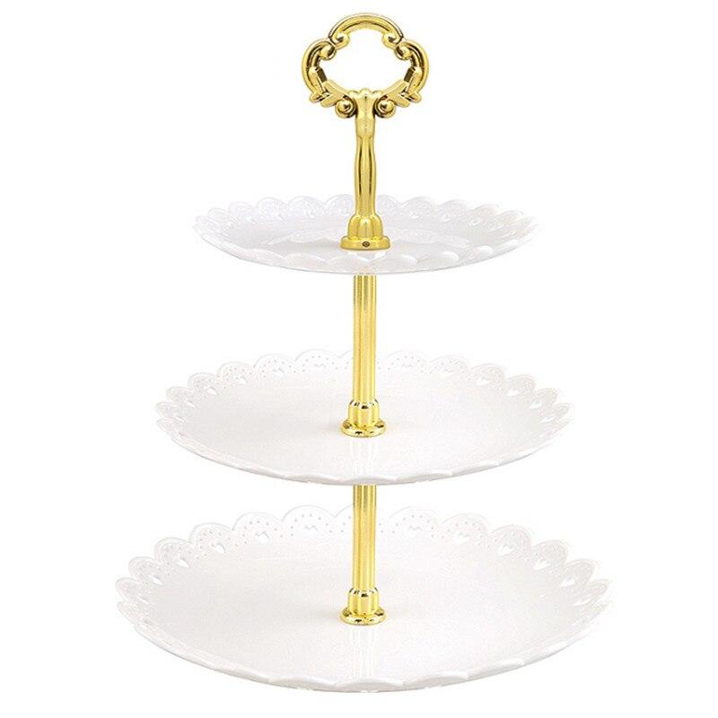 Heißer 3 Tier Kunststoff Kuchen Stehen Nachmittag Tee Hochzeit Platten Partei Geschirr Dessert Obst Tray Home Lagerung Solide Kuchen Halter