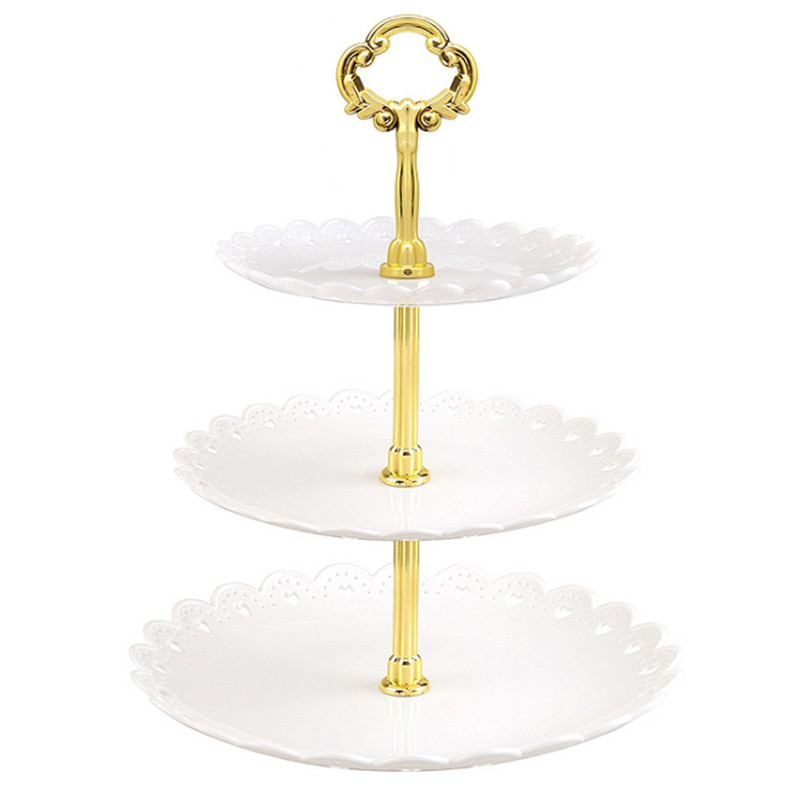 Hot 3 Tier Plastic Cake Stand Afternoon Tea Wedding Plates Party Tableware Dessert Fruit Tray Home Storage Solid Cake Holder