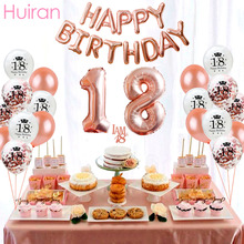 Huiran Happy Birthday Balloons Rose Gold Foil Baloon 18 Party Decor Adult 18th Number Ballon Air Balls