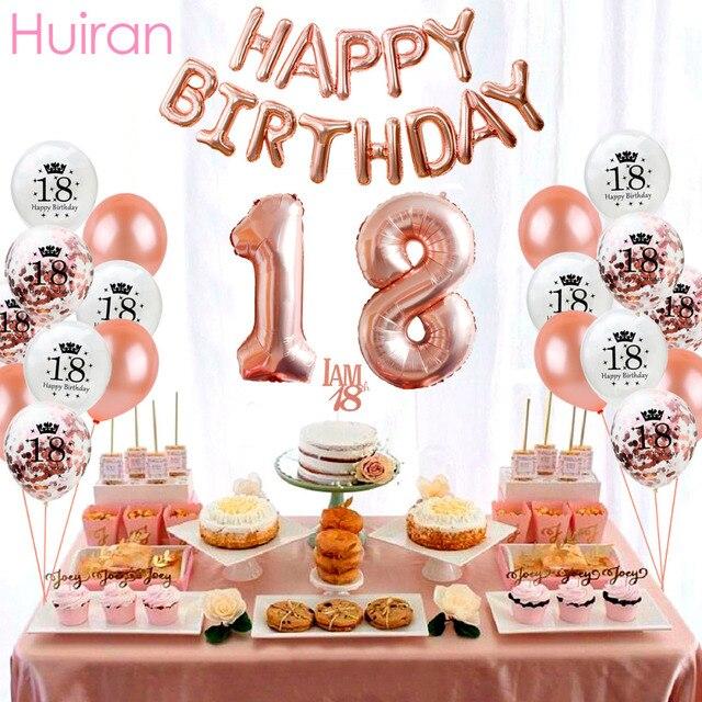 Huiran balões laminados para aniversário, 18 balões de ouro rosado para decoração de festa de aniversário adulto 18 ° decoração de balões