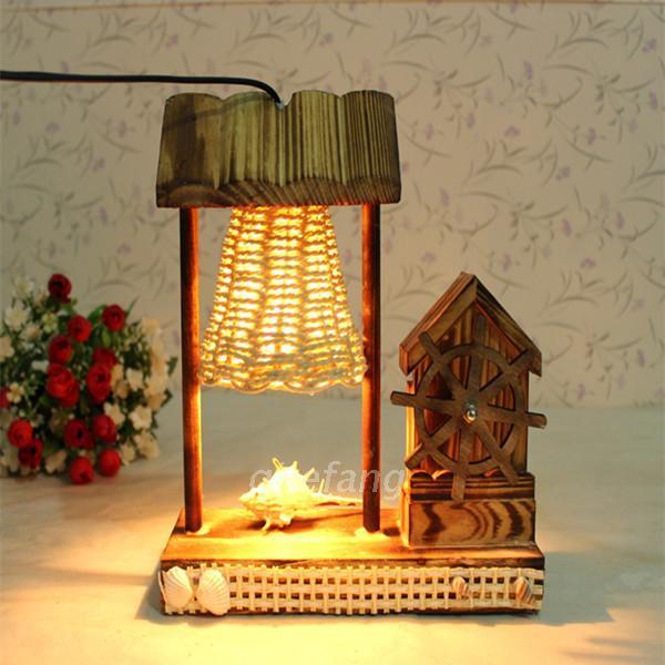 Criativo pastoral de madeira caixa de música de madeira com retro minimalista quarto lâmpada lâmpada de cabeceira Decoração de Casa Decorati
