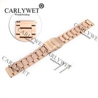 CARLYWET 22mm Neue Stil Rose Gold Stahl Solide Verbindungen Uhr Band Armband Für Samsung Getriebe S3 smart Freigegeben Frühling Bar