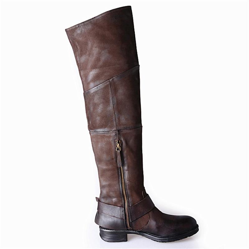 Prova Perfetto estilo atractivo botas de mujer de cuero de gamuza punta redonda Casual sobre la rodilla botas de diseño plisado remaches botas de mujer-in Botas sobre la rodilla from zapatos    3