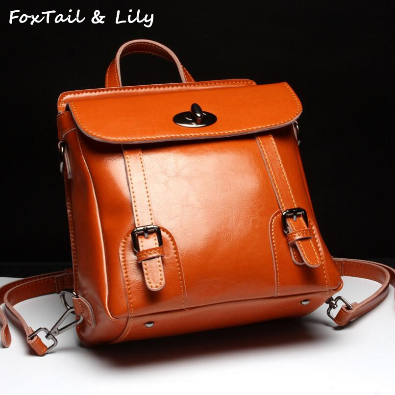 FoxTail & Lily Oil Wax Cowhide Travel Backpacks Women Genuine Leather Shoulder Bags Lady New Fashion School Backpack for Girls