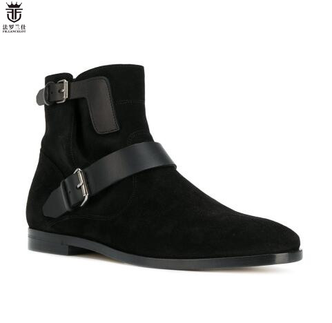 FR.LANCELOT 2018 New Arrival Chelsea Boots Black Suede Cross Buckle Side Zipper Men Shoes Party Wedding Brand zapatos de mujer