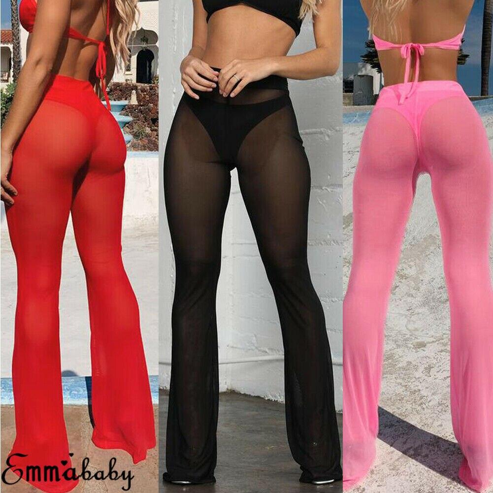 Summer Women See-Through Bikini Cover Up Sexy Long Pant Mesh Fishnet Bottom Cover Ups Ladies Fashion Swimwear Bathing